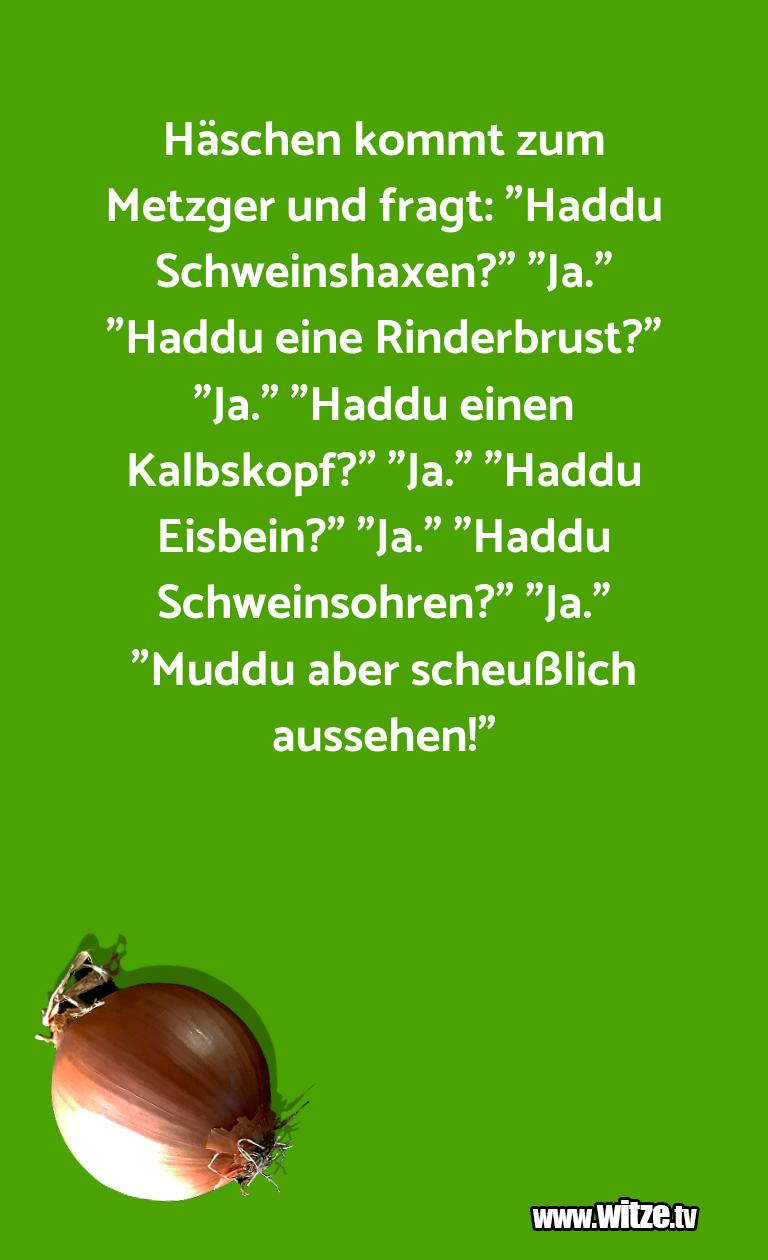 """Muttis Witze… Häschen kommt zum Metzger und fragt: """"Haddu Schwei…"""