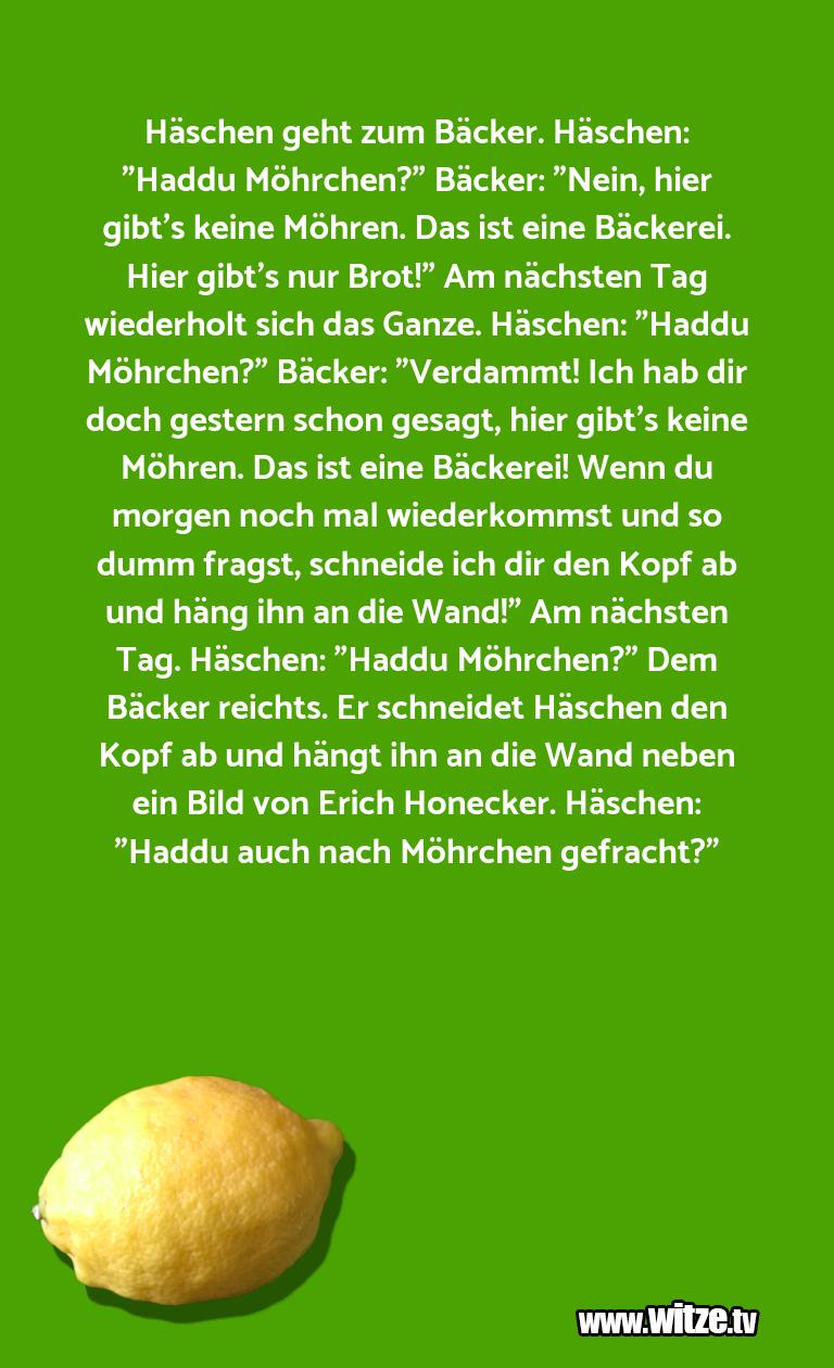"""Hammer Gag… Häschen geht zum Bäcker. Häschen: """"Haddu Möhrchen?…"""