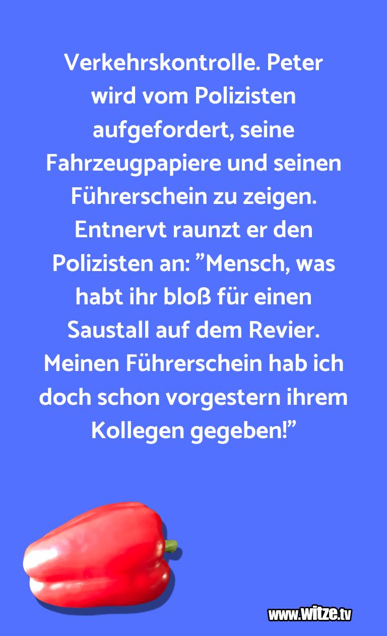 Verkehrskontrolle Peter Wird Lustige Witze Und Sprüche