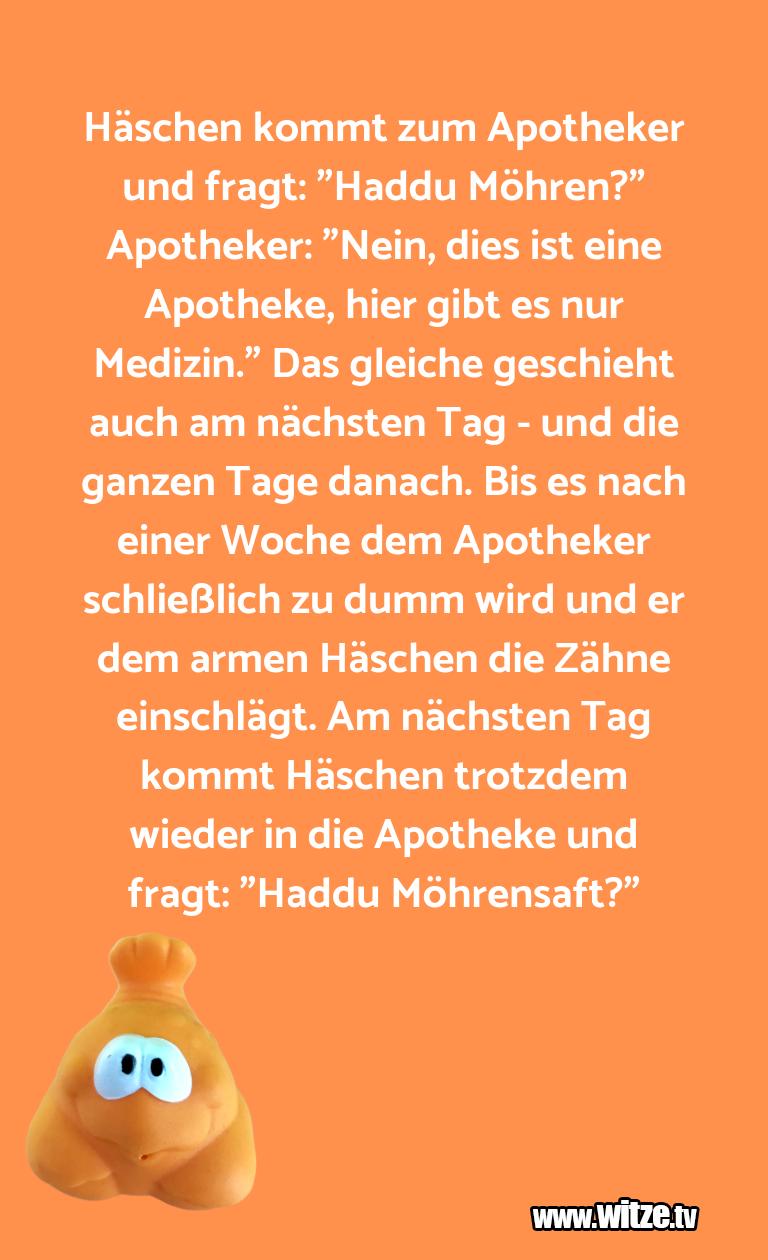 """Nur Unsinn… Häschen kommt zum Apotheker und fragt: """"Haddu Möhr…"""