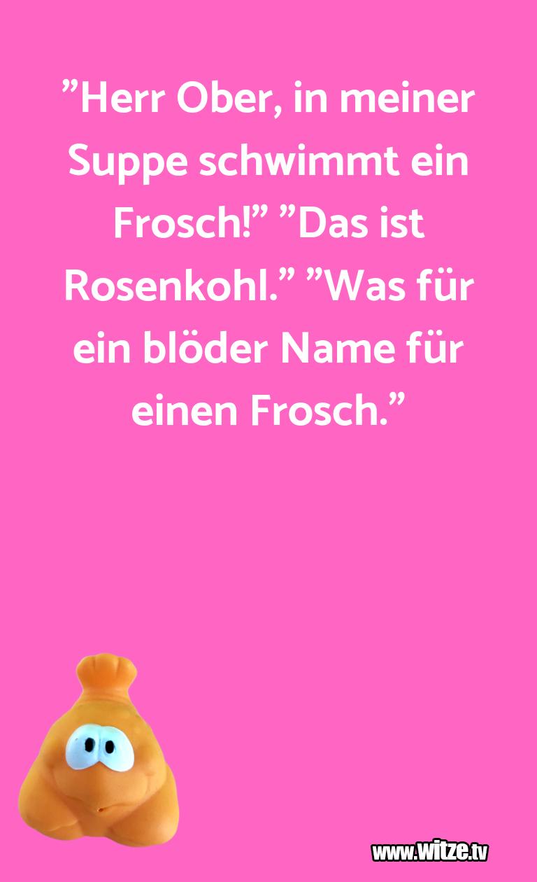 """Kracher vom Schöpfer… """"Herr Ober, in meiner Suppe schwimmt ein Frosch!"""" …"""