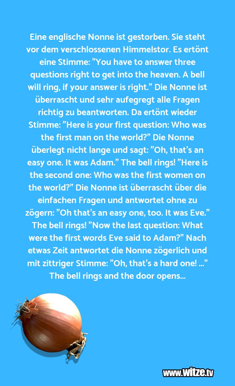 Das ist Humor… Eine englische Nonne ist gestorben. Sie steht v…