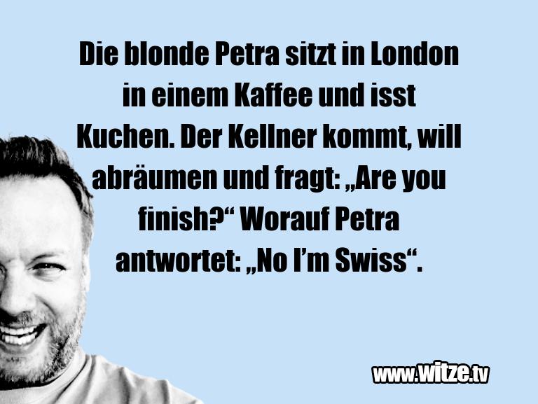 Geisteshaltung oder Schabernack… Die blonde Petra sitzt in London in einem Kaffee u…