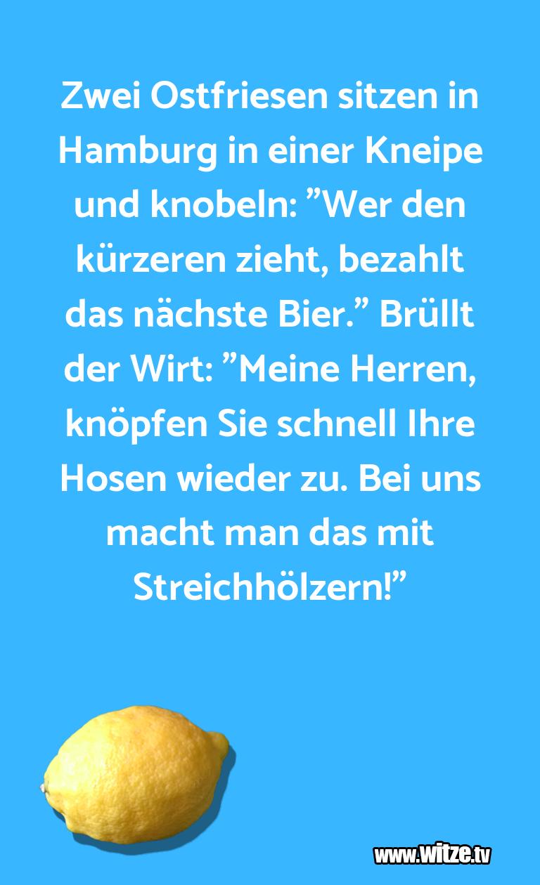 Mehr Schabernack über...Zwei Ostfriesen sitzen in Hamburg in einer Kneipe …