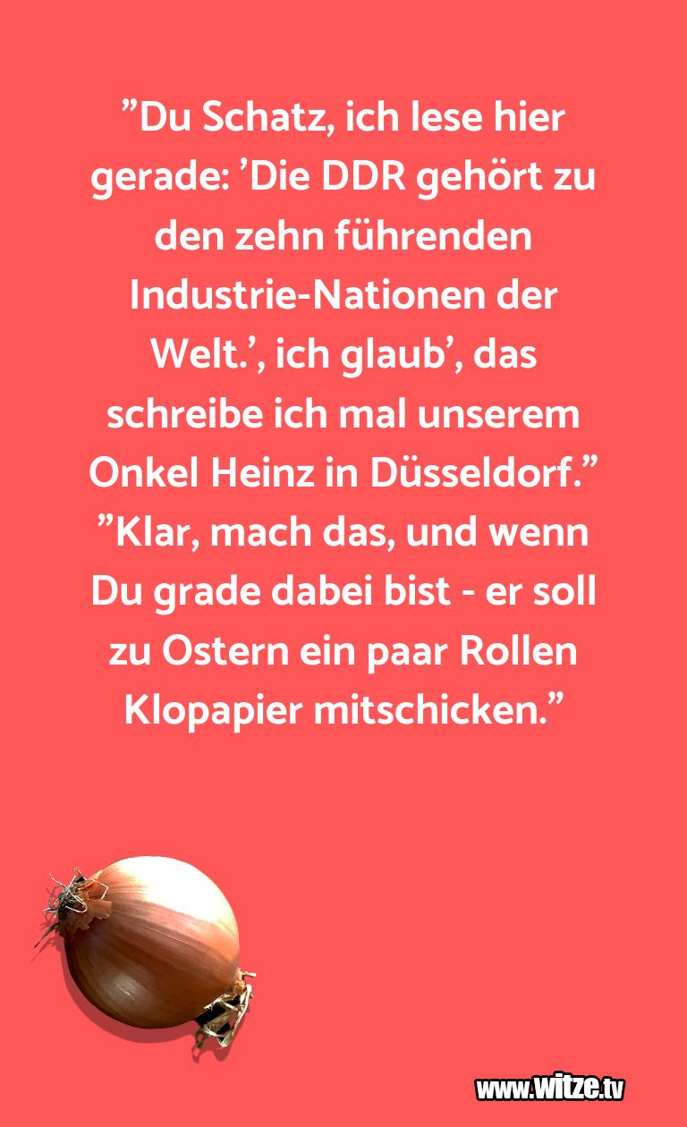 """Das ist Humor… """"Du Schatz, ich lese hier gerade: 'Die DDR gehört …"""