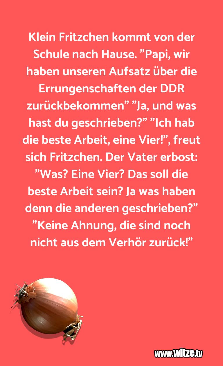 """Witz über… Klein Fritzchen kommt von der Schule nach Hause. """"…"""