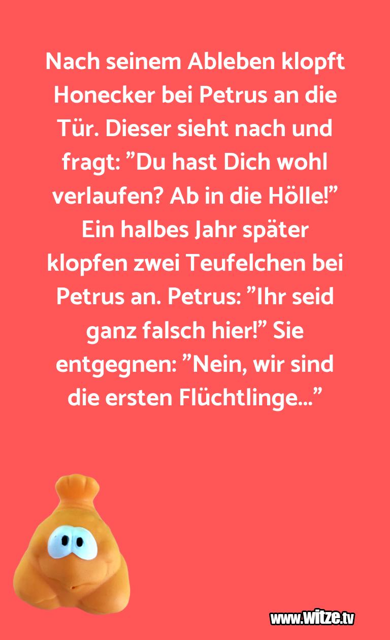 Ein Wortwitz über… Nach seinem Ableben klopft Honecker bei Petrus an …
