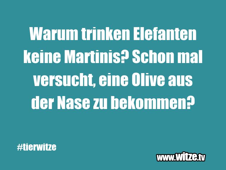 Ein Wortwitz über… Warum trinken Elefanten keine Martinis? Schon mal …