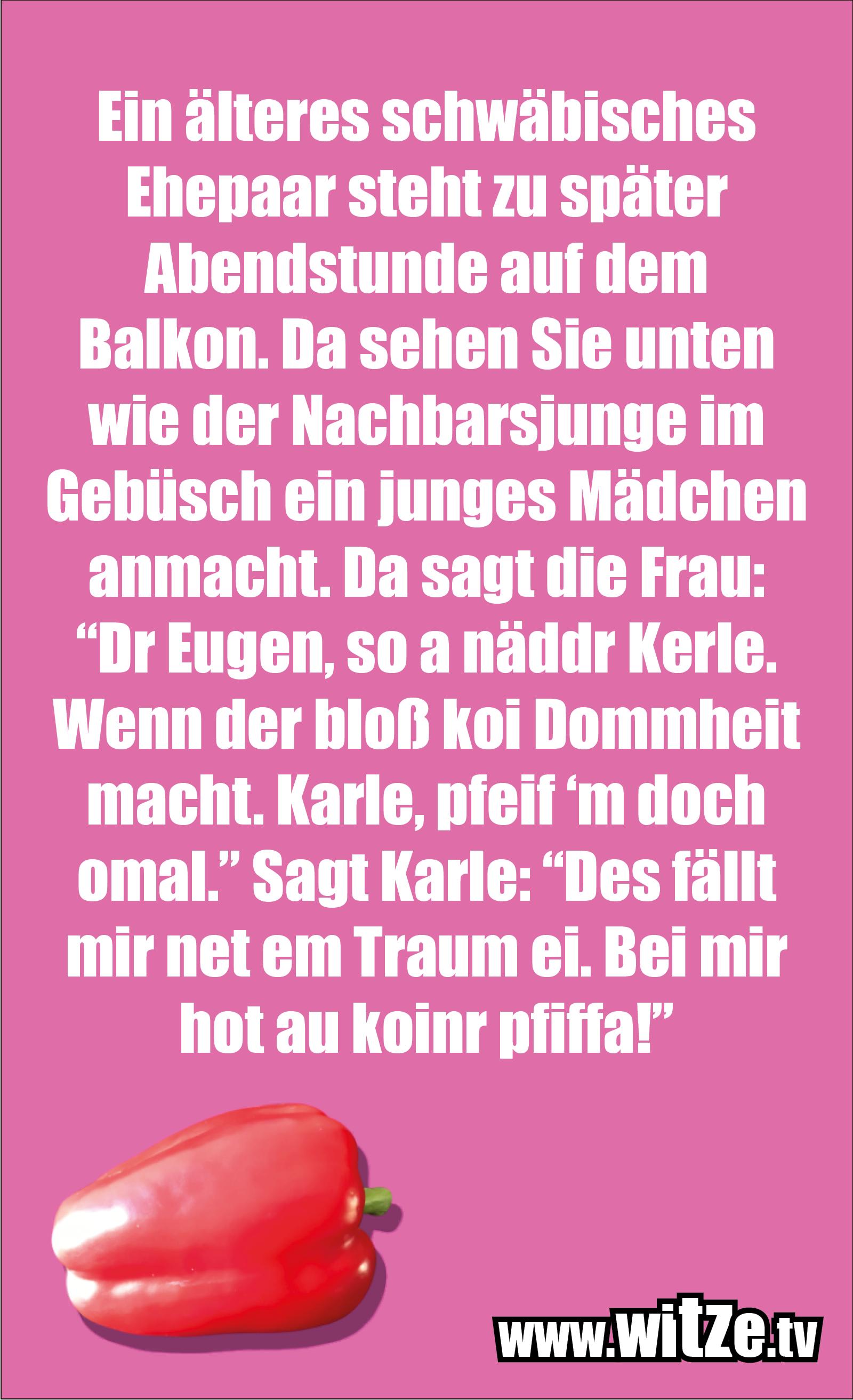 """Schwaben Witz… Ein älteres schwäbisches Ehepaar steht zu später Abendstunde auf dem Balkon. Da sehen Sie unten wie der Nachbarsjunge im Gebüsch ein junges Mädchen anmacht. Da sagt die Frau: """"Dr Eugen, so a näddr Kerle. Wenn der bloß koi Dommheit macht. Karle, pfeif 'm doch omal."""" Sagt Karle: """"Des fällt mir net em Traum ei. Bei mir hot au koinr pfiffa!"""""""