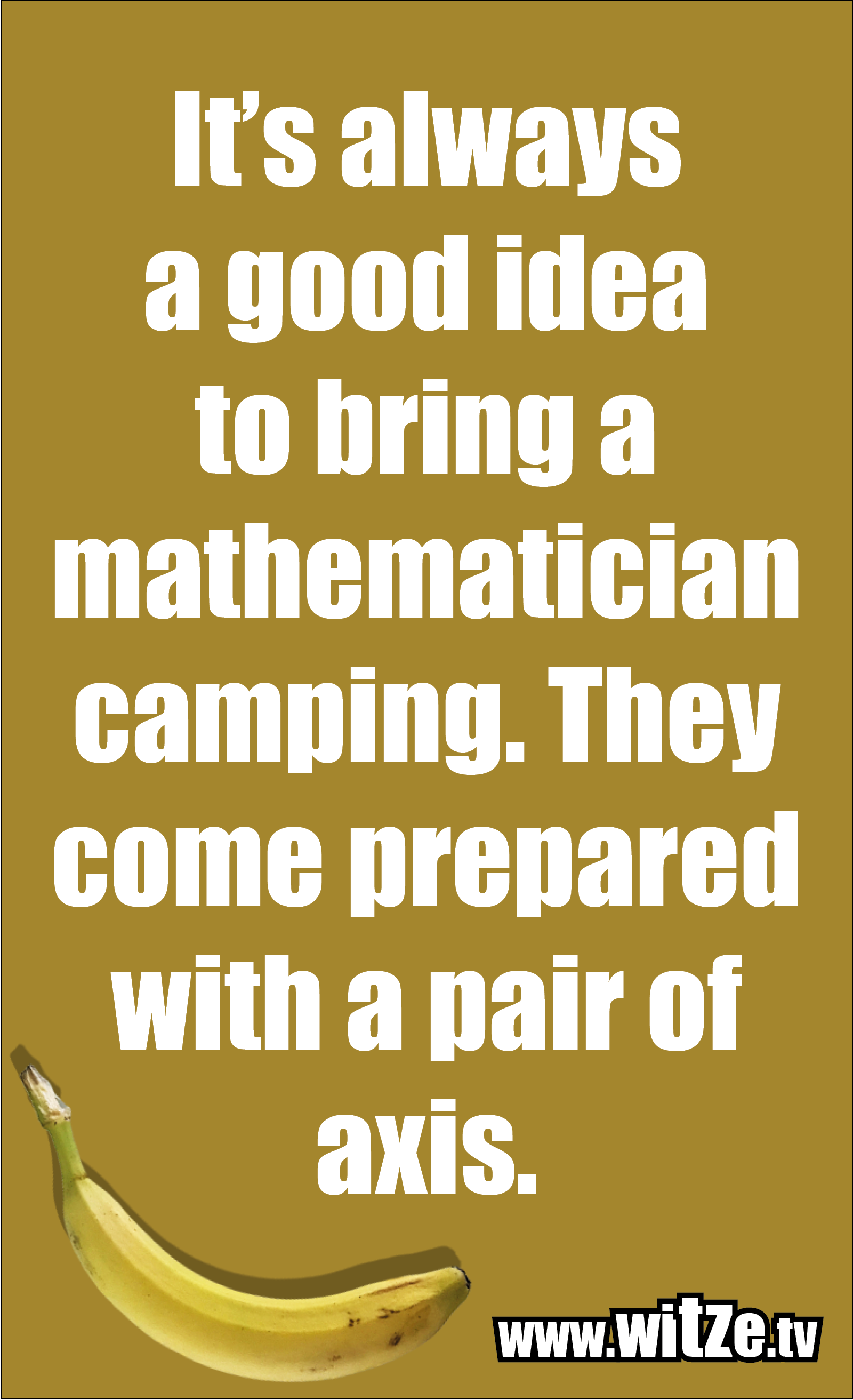 Math joke… It's always a good idea to bring a mathematician camping. They come prepared with a pair of axis.