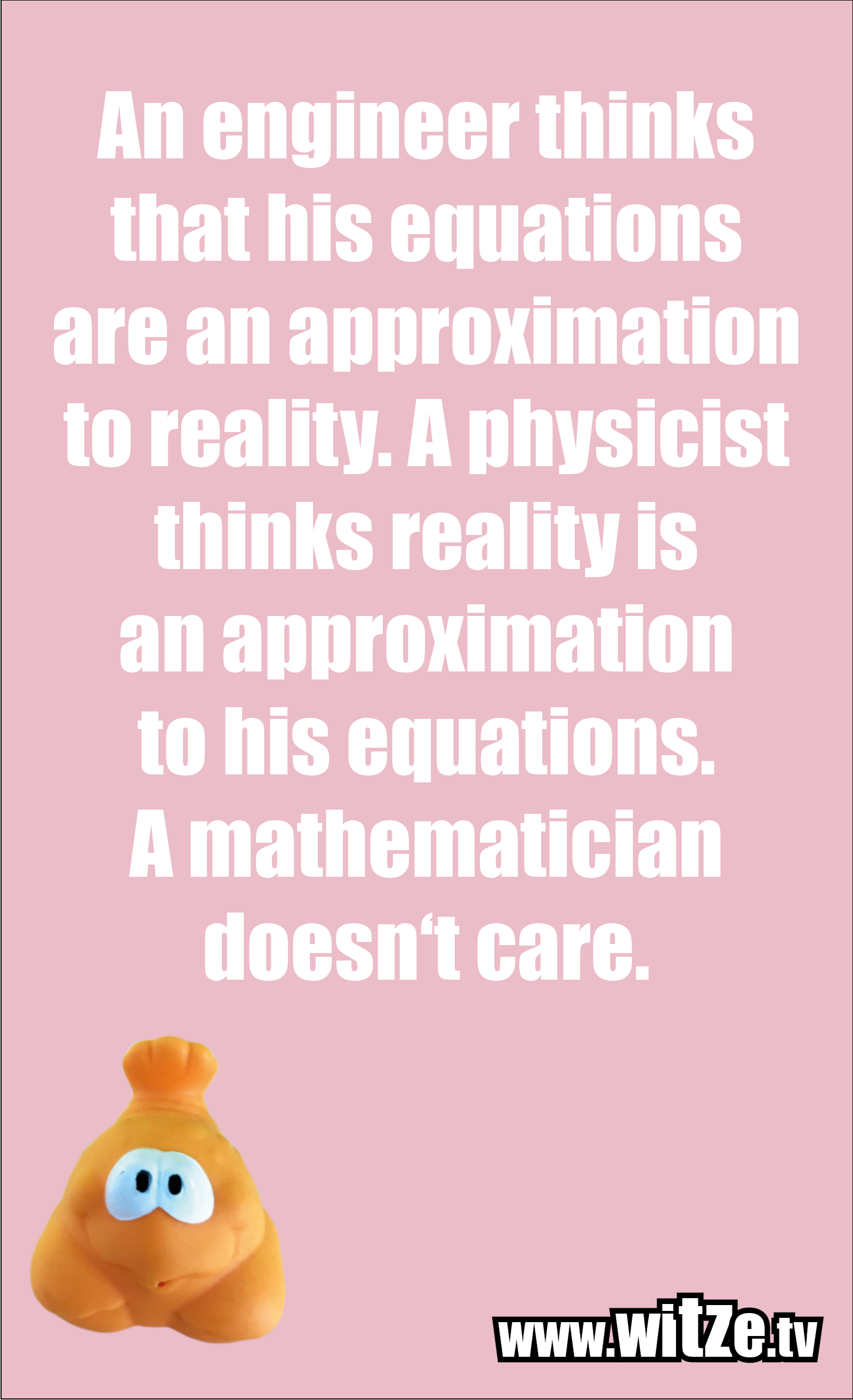 Math joke… An engineer thinks that his equations are an approximation to reality. A physicist thinks reality is an approximation to his equations. A mathematician doesn't care.
