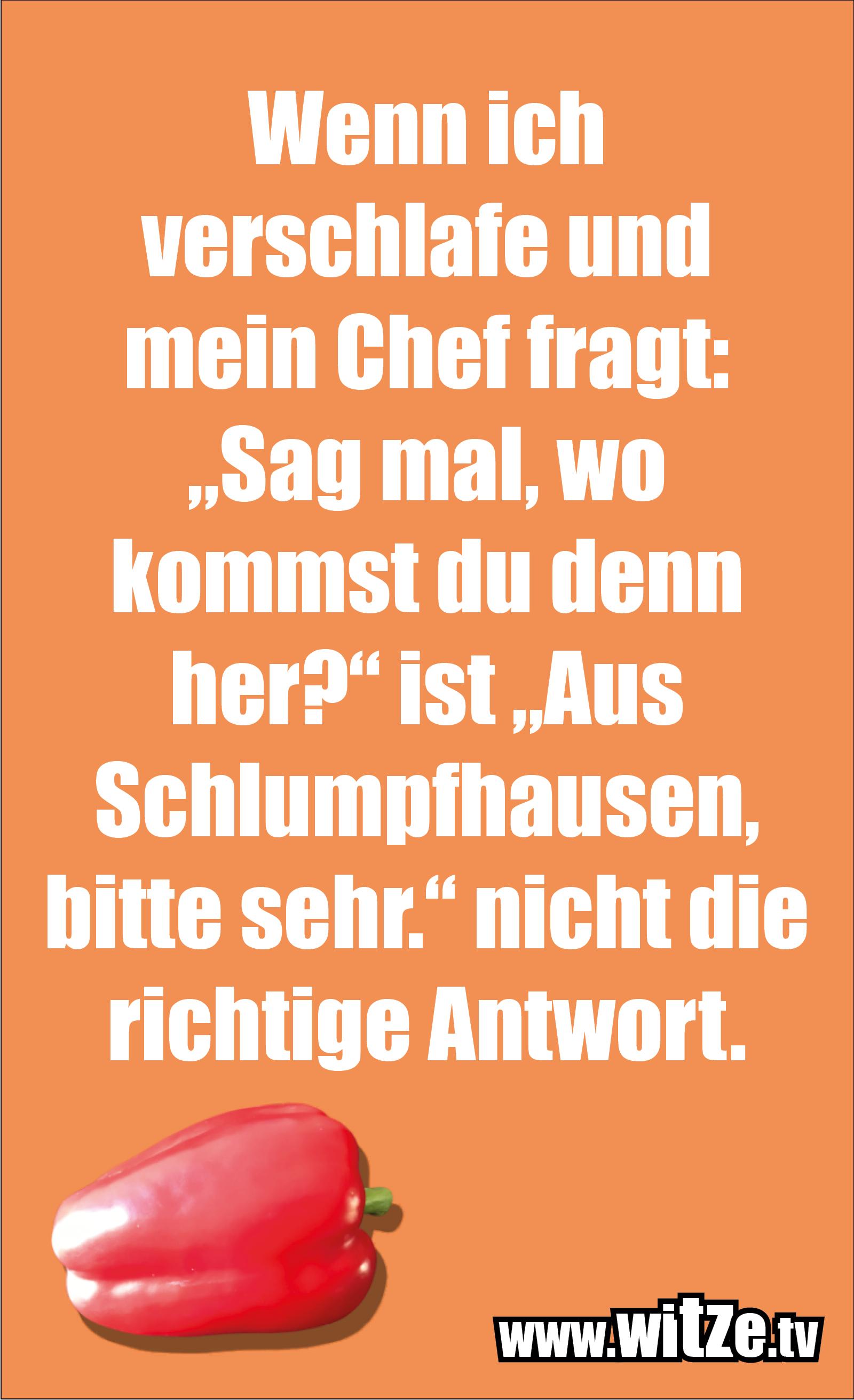 """Sarkasmus Sprüche: Wenn ich verschlafe und mein Chef fragt: """"Sag mal, wo kommst du denn her?"""" ist """"Aus Schlumpfhausen, bitte sehr."""" nicht die richtige Antwort."""