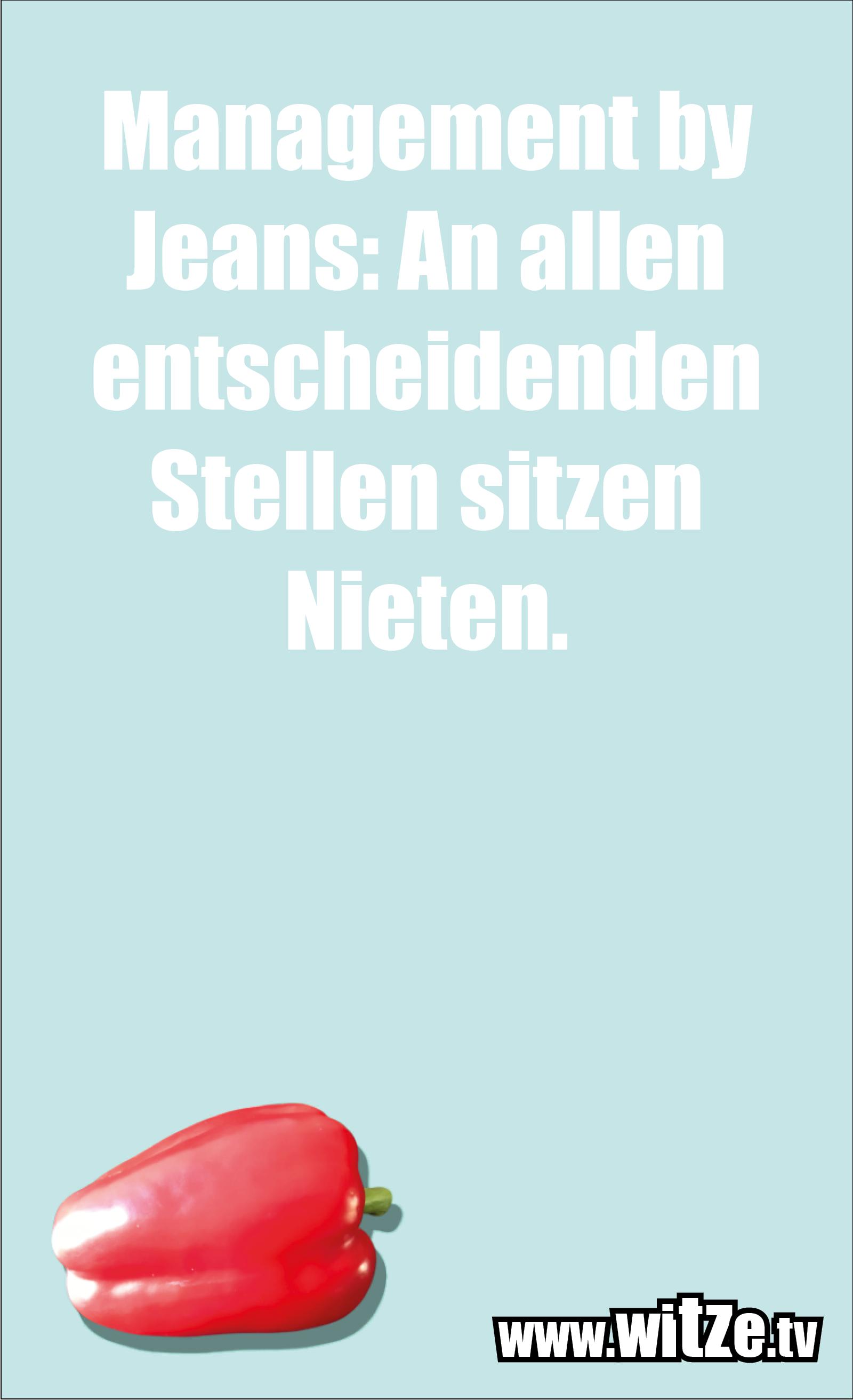 Dumme Sprüche… Management by Jeans: An allen entscheidenden Stellen sitzen Nieten.