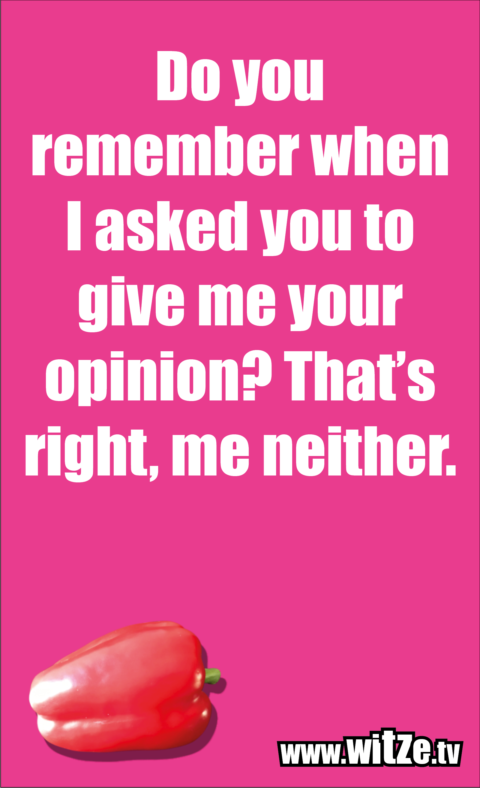 Funny sayings… Do you remember when I asked you to give me your opinion? That's right, me neither.