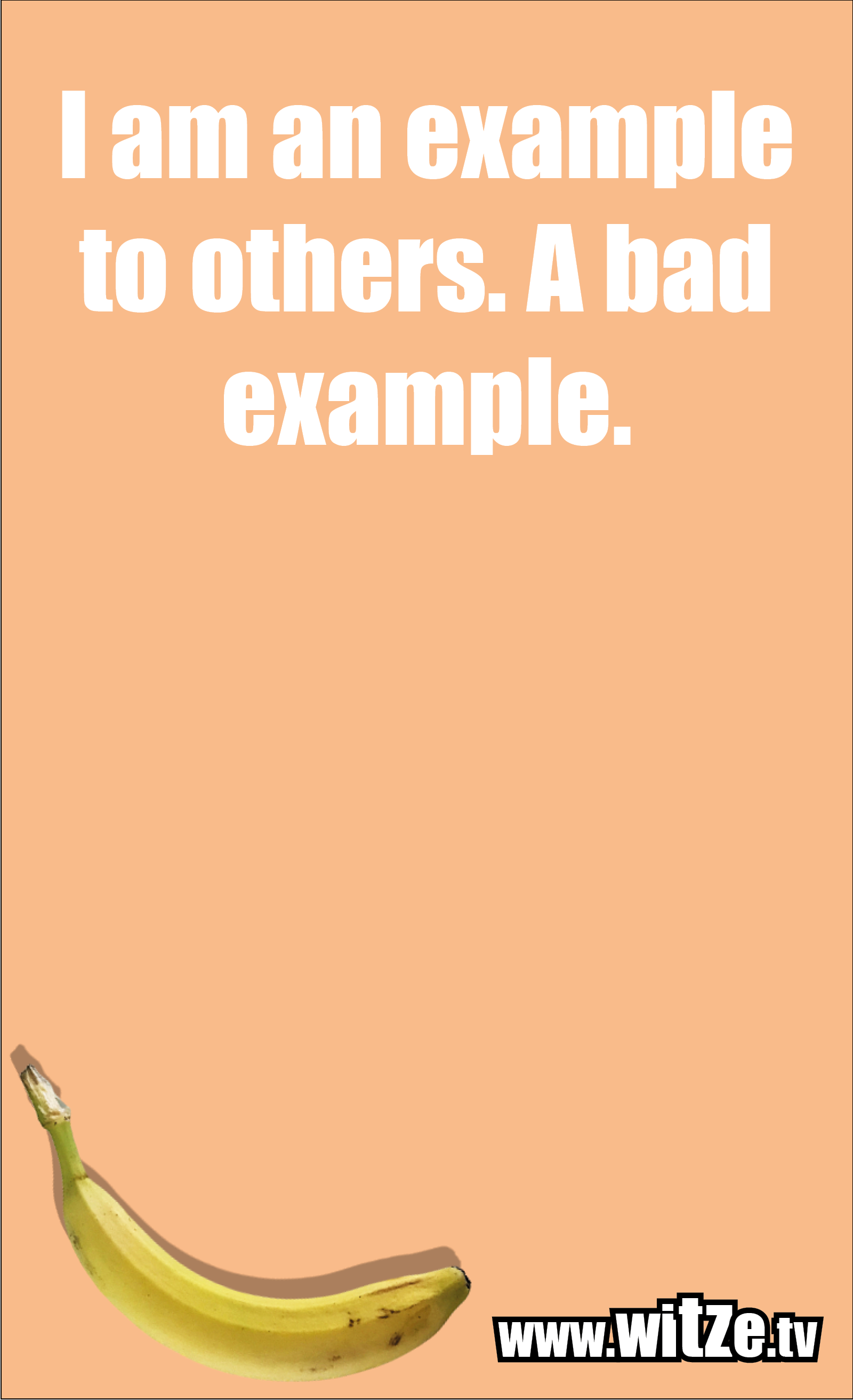 Funny sayings… I am an example to others. A bad example.