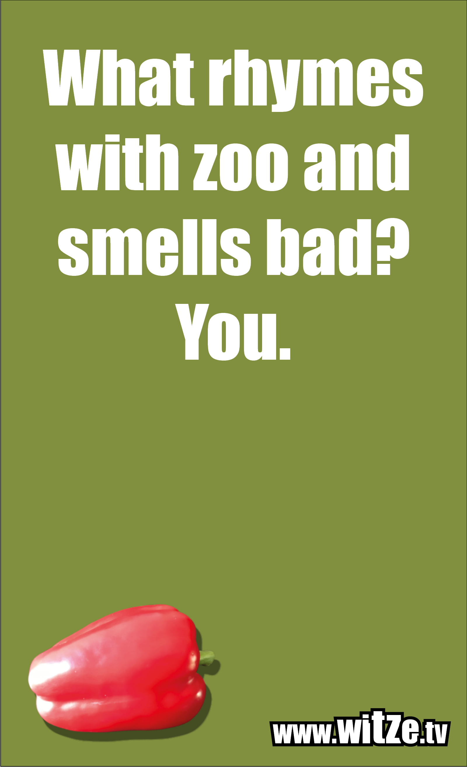 Funny sayings… What rhymes with zoo and smells bad? You.