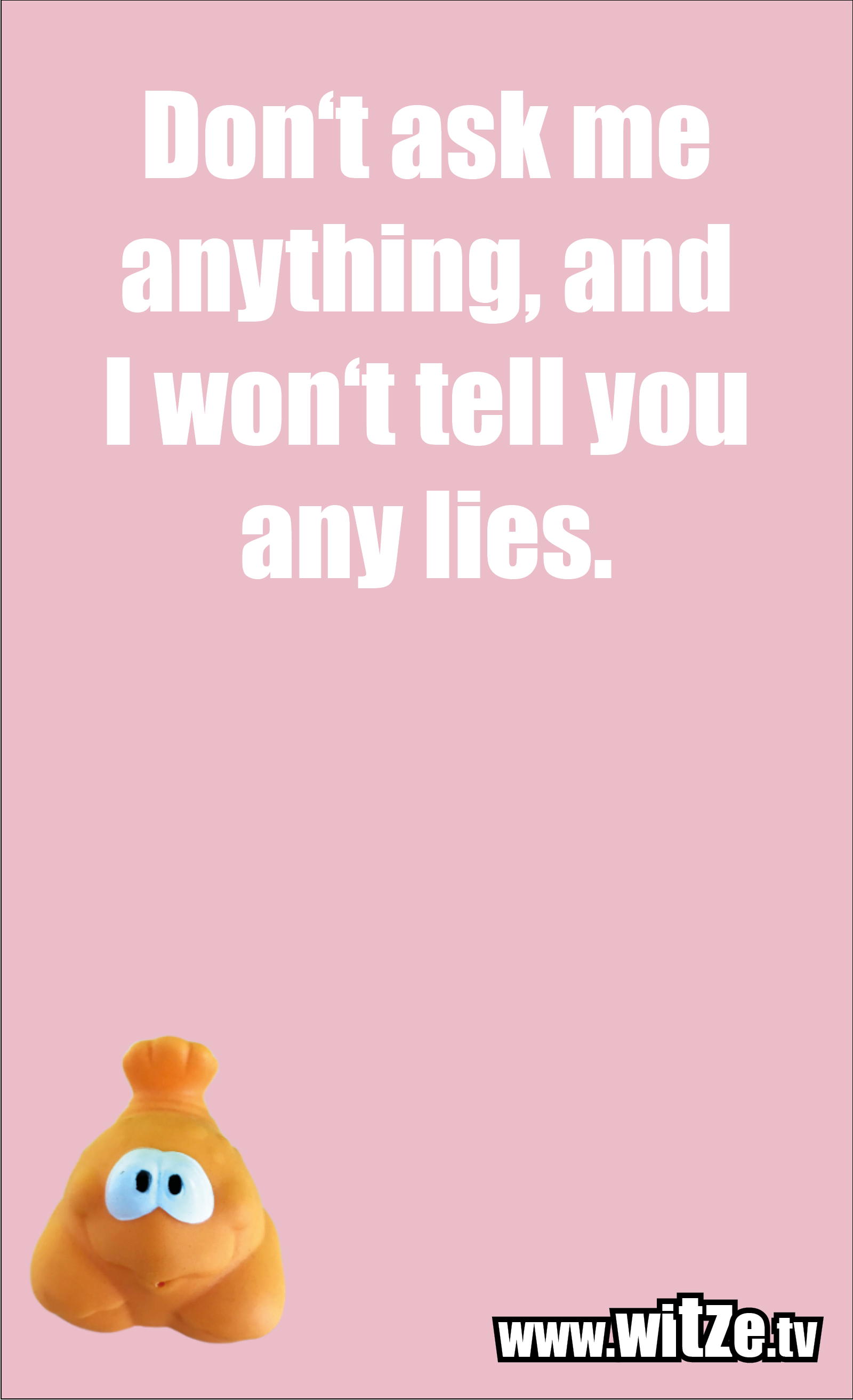 Funny sayings… Don't ask me anything, and I won't tell you any lies.